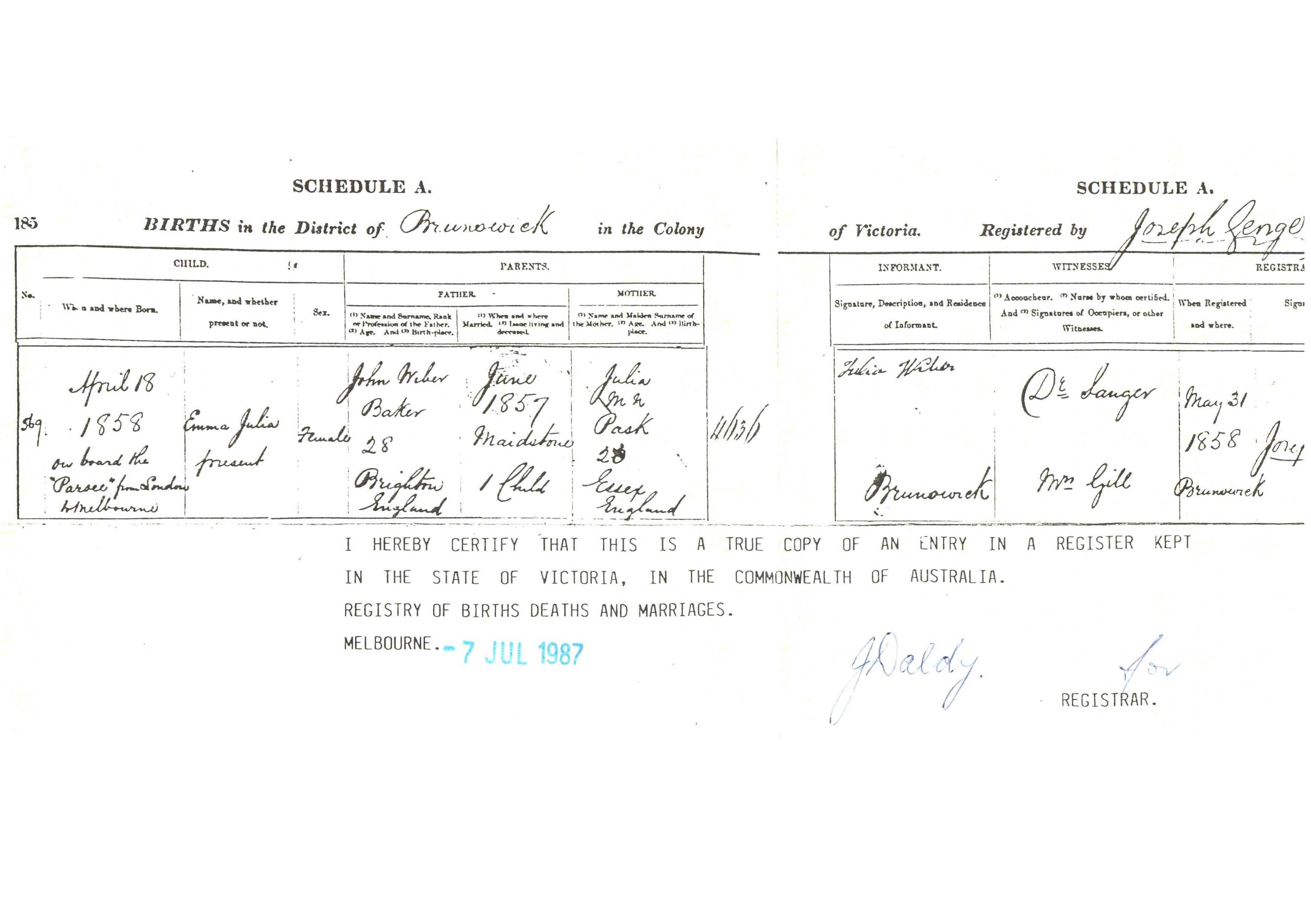 Pask paske one name study narratives person page s4938 copy of the birth certificate of emma julia wiber born 18 april 1858 kindly provided by bill bailey as provided to him by peggy thurston aiddatafo Images
