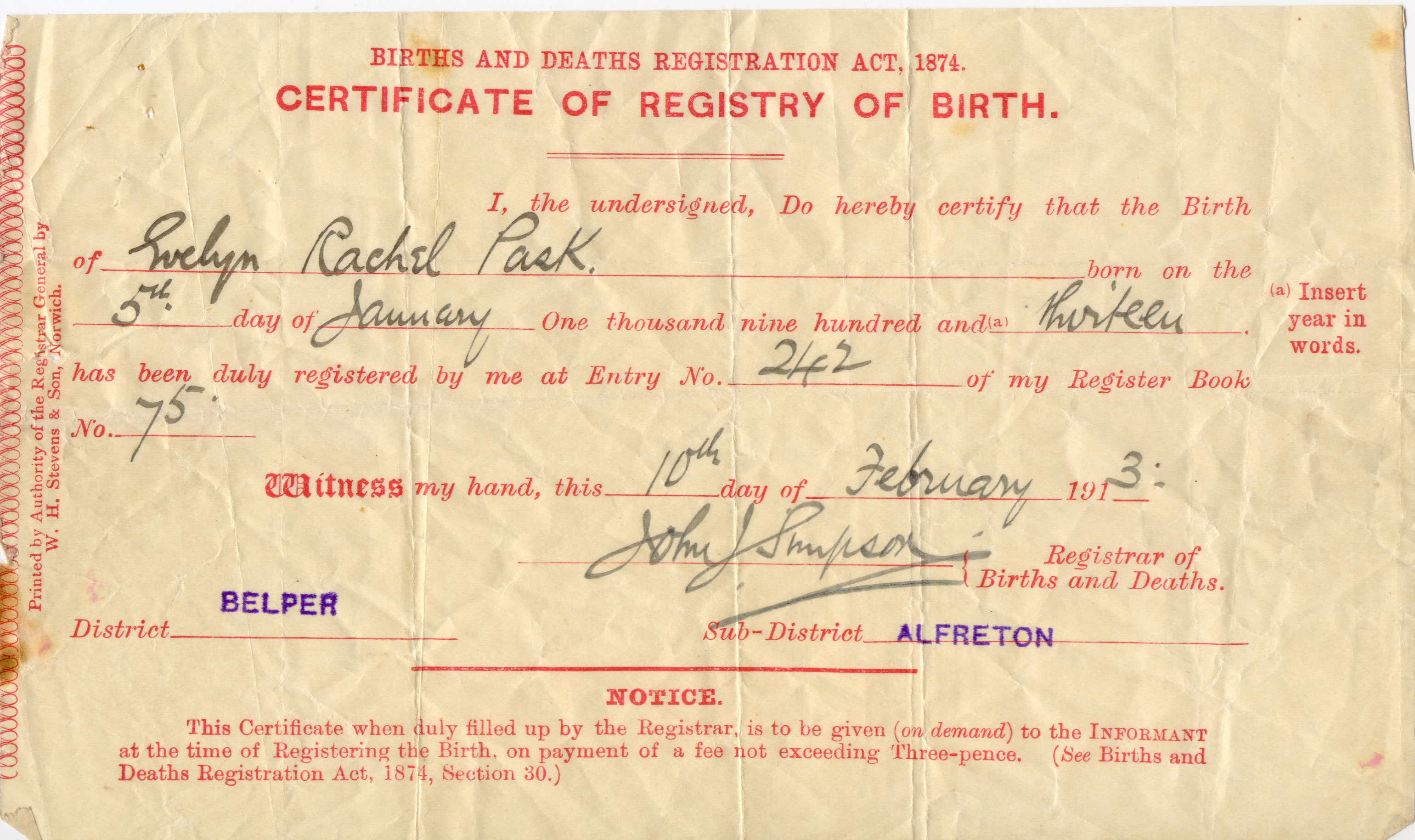 Pask paske one name study narratives source page s204 copy of the short version of the birth certificate of evelyn rachel pask born 5 january 1913 registered in the registration district of belper aiddatafo Image collections