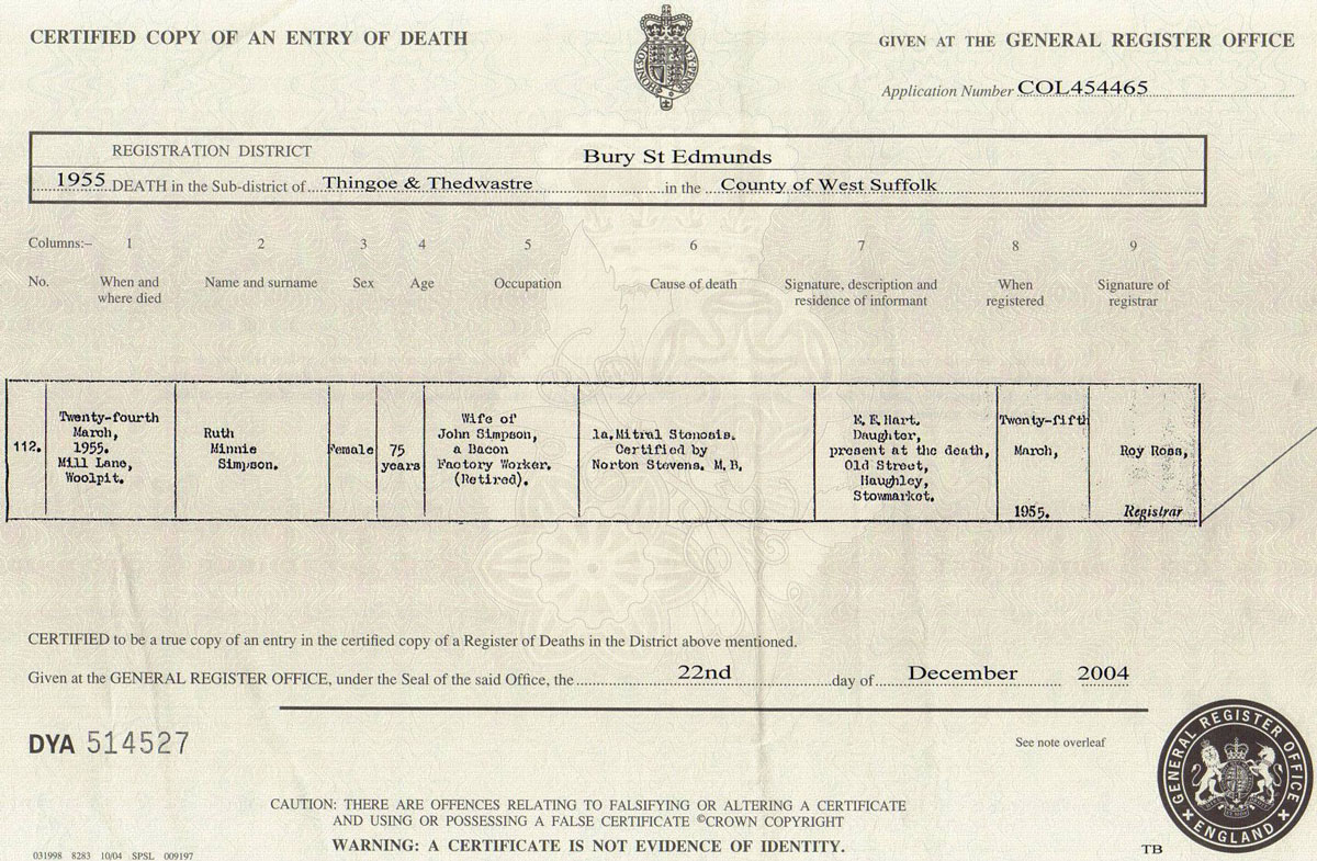 Death certificate format in uk gallery certificate design and 1937 death certificate the common room rootschat as you can see the format is essentially the aiddatafo Gallery