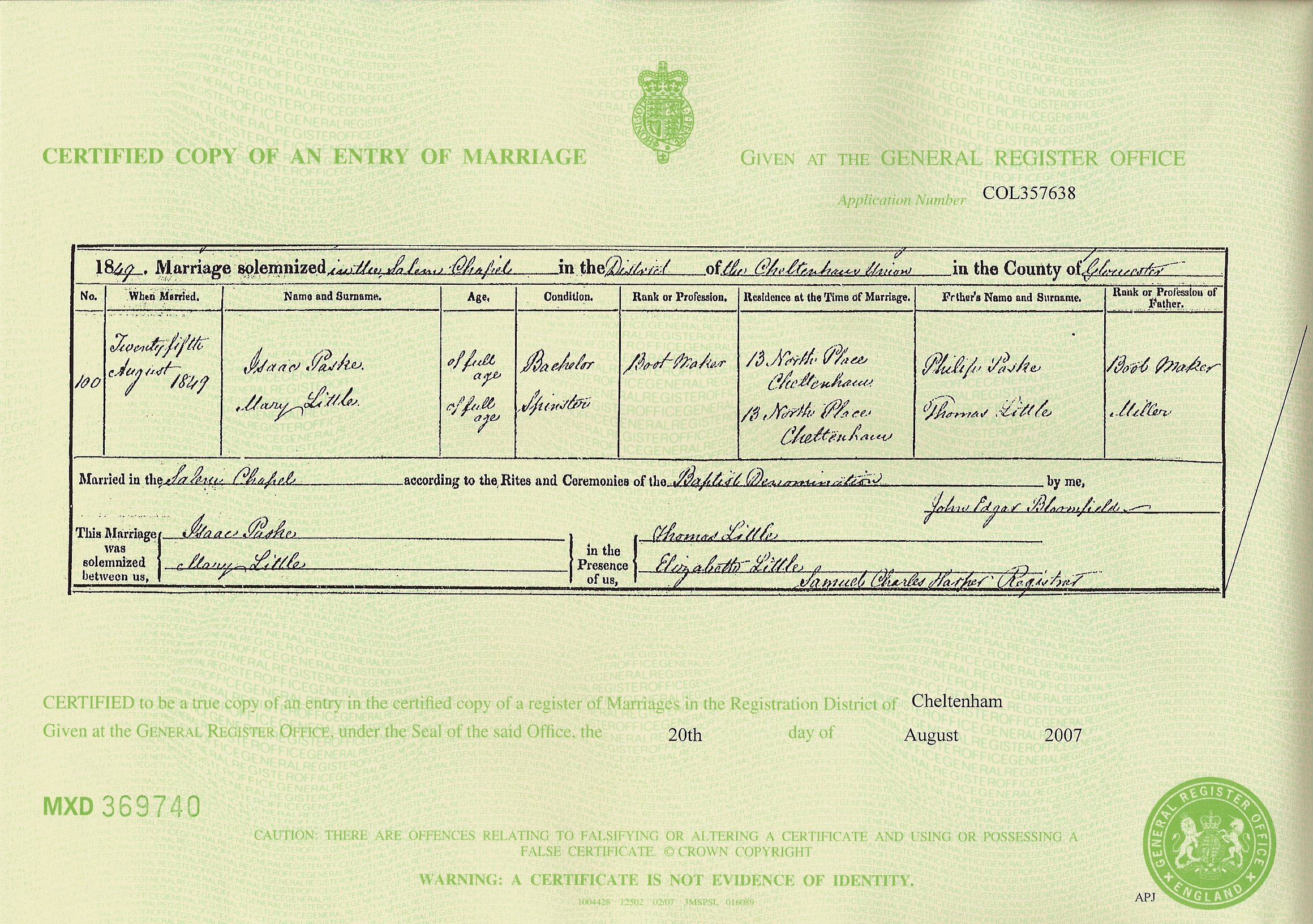 Pask paske one name study blog 2007 as mentioned in the previous blog titled descendants of philip mary pask ne morgan we ordered the marriage certificate of isaac paske and mary little aiddatafo Gallery