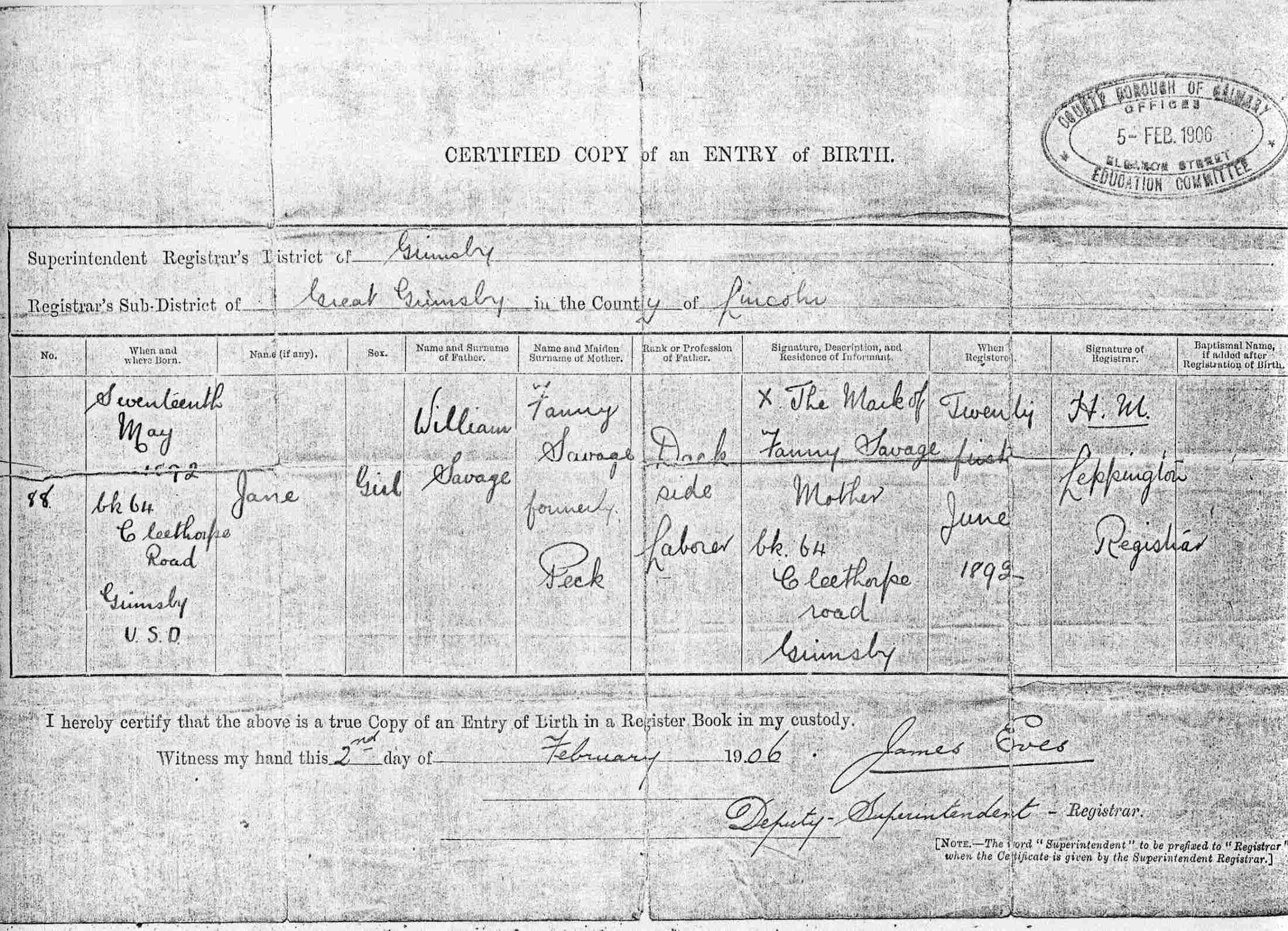 Stuart charles pasks maternal and direct family source page s607 copy birth certificate of jane savage born 17 may 1892 registered 21 jun 1892 in the registration district of caistor lincolnshire aiddatafo Choice Image