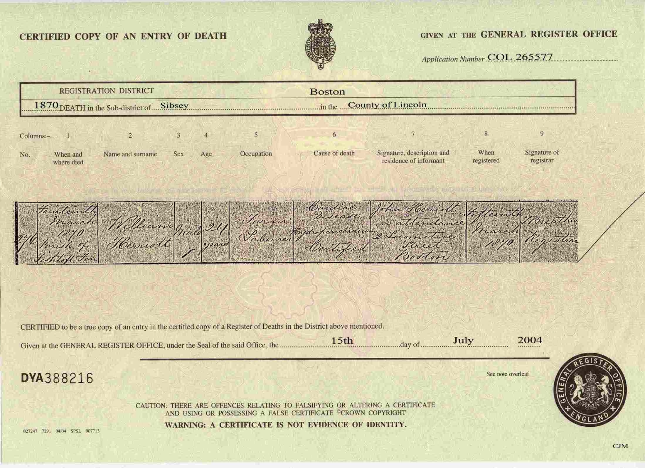 Stuart charles pasks maternal and direct family source page s497 copy death certificate of william herriott died 14 march 1870 in the registration district of sibsey lincolnshire aiddatafo Image collections