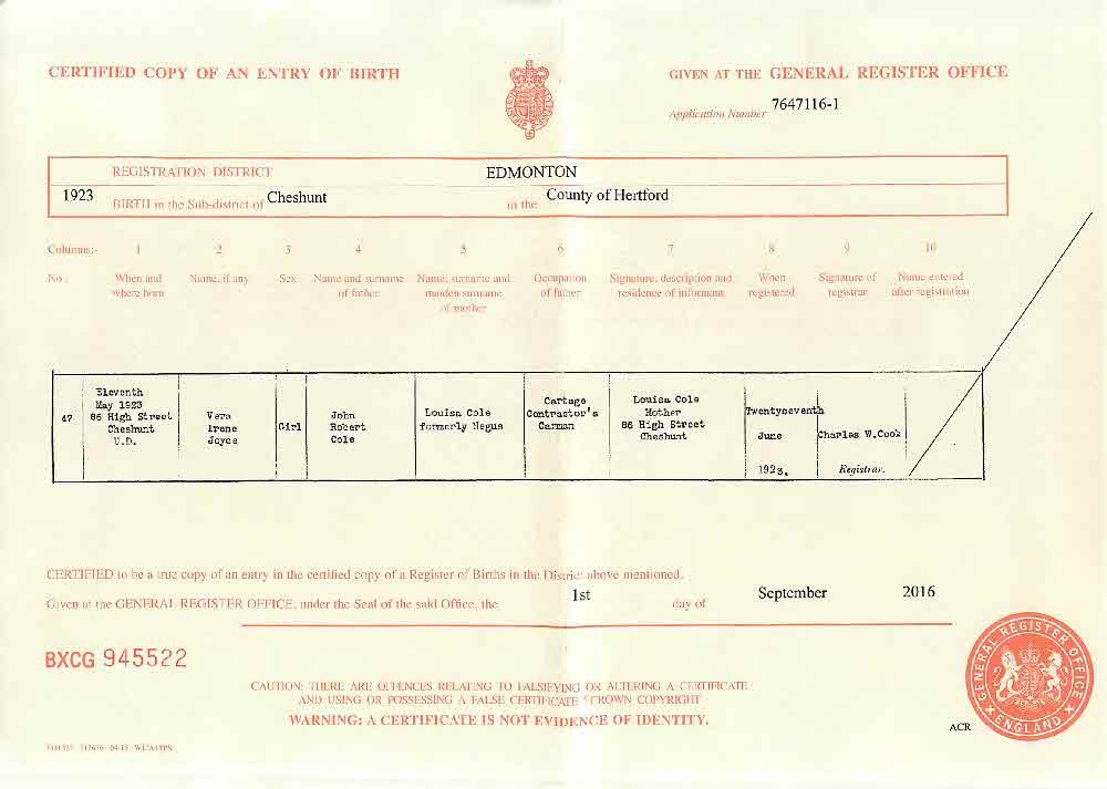 PASK, PASKE One-Name Study Narratives - Birth Certificate of Vera ...