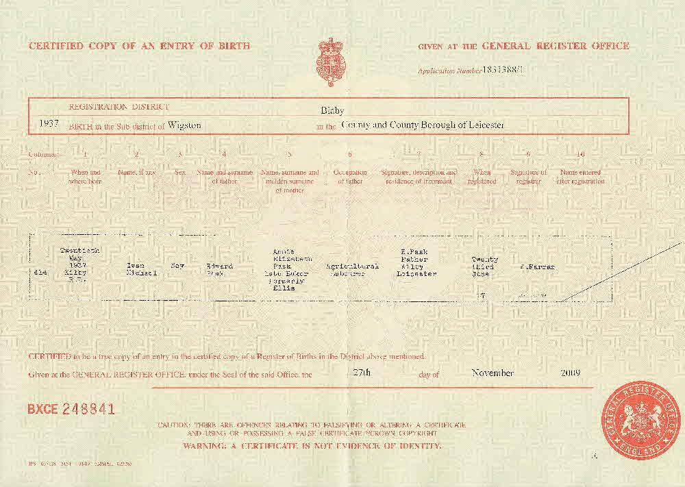 leicester england copy of birth certificate