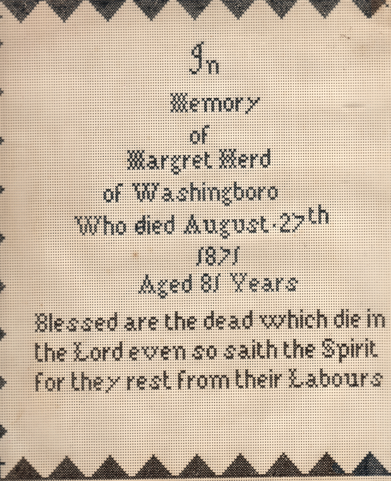 Sampler in Memory of Margret Herd who died August 27, 1871